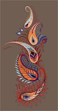 Islamic Art Pattern, Pattern Art, Print Patterns, Arabic Pattern, Paisley Pattern, Paisley Art, Paisley Design, Fabric Paint Designs, Feather Art