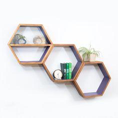 Geometric Wood Shelves  Mid Century Modern  by HaaseHandcraft