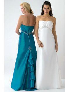 Taffeta Strapless Floor Length A-Line Bridesmaid Dress