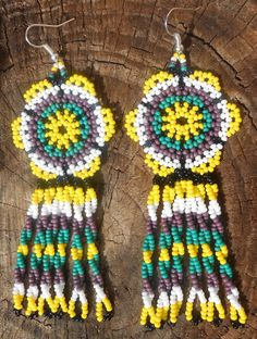Colorful Glass Seed Beaded Yellow Dangle Earrings