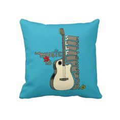 Music is Self Expression Guitar Throw Pillow
