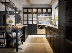 Cucina componibile LERHYTTAN mordente nero - IKEA Ikea Kitchen Cabinets, Kitchen Units, Kitchen Layout, Ikea Kitchens, Kitchen Islands, Tv Cabinets, Custom Cabinets, Design Kitchen, Storage Cabinets