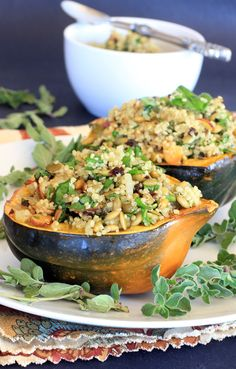 Acorn Squash Stuffed with Pumpkin Seed & Cherry Quinoa Pilaf -- great, healthy all-in-one meal! And you'll have enough pilaf left over for a cold quinoa salad the next day.