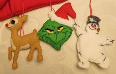 Rudolph, Grinch and Frosty felt ornaments - OCCASIONS AND HOLIDAYS