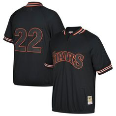 Will Clark San Francisco Giants Mitchell & Ness Cooperstown Collection Mesh Batting Practice Quarter-Zip Jersey - Black