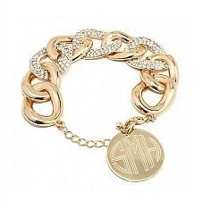Personalized gold and pave chain link bracelet by MetalMonograms on Etsy https://www.etsy.com/listing/200985035/personalized-gold-and-pave-chain-link