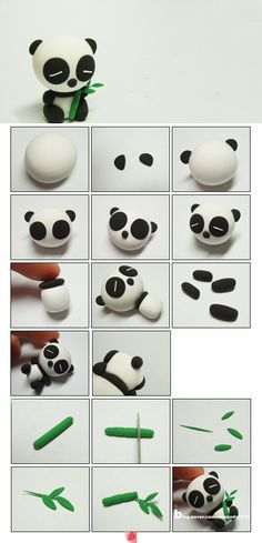 clay or marzipane panda tutorialpâte fimo Awh this is too cute xxx: # Eye shadow and eye colors # make-up # adjustment. Tuto Amigurumi – Sam the little bear –.Awh c& trop mignon xxx:Most inspiring pictures and photos!Panda - how to make a panda Diy Fimo, Fimo Clay, Polymer Clay Charms, Polymer Clay Projects, Polymer Clay Creations, Polymer Clay Art, Clay Crafts, Diy And Crafts, Simple Crafts
