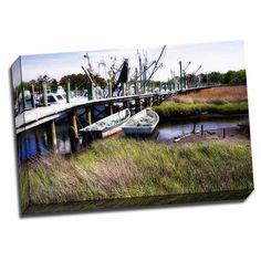 Picture It on Canvas ' Harbor 1' Wrapped Canvas, Green