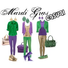 Mardi Gras Casual, created by musicalbeargirl on Polyvore