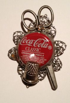 Coca Cola Bottle Cap Pin Brooch with Scissors and by ThriftnArt, $3.99