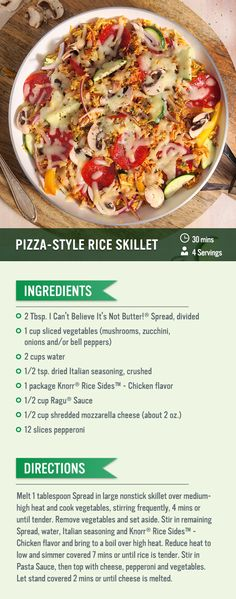 Simply cook Knorr® Rice Sides™ - Chicken flavor in a skillet and add sauteed vegetables on top with cheese for this easy pizza-style rice skillet recipe! Knorr rice and vegetables make for a great main dish for dinner.