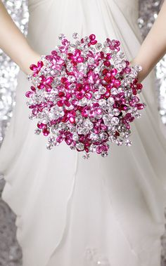 Bridal Bouquets - Beautiful Silver & Pink Mirrored Beads - Wedding Bouquet - Fabulous Brooch Bouquet Alternative with Grooms Boutonniere