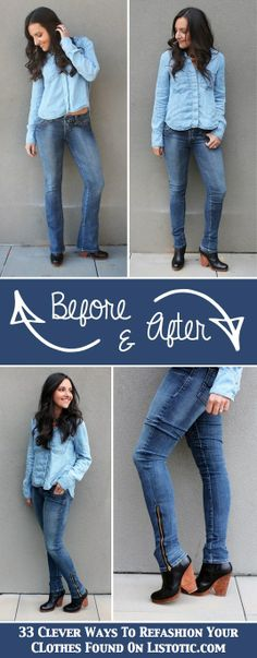 33 Clever Ways To Refashion Your Clothes ~ How to turn an old pair of boot cut jeans into skinny jeans.