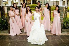 Bridesmaids in delicate blush-toned chiffon ensembles (Donna & EJ's Wedding) Wedding Gallery, Wedding Blog, Wedding Planner, Wedding Photos, Wedding Ideas, Wedding Entourage, Bridesmaid Dresses, Wedding Dresses, Bridesmaids