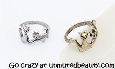 Vintage Playful Kittens Ring