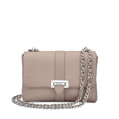 Our darling-chic Lottie Bag has been flawlessly scaled up to create an elegantly grown-up and lady-like shoulder bag perfect for day or night. Handmade from the finest soft taupe pebble Italian calf leather, our Large Lottie Bag offers a dose in...