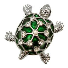 Acosta - Green Enamel & Crystal - Silver Colored Turtle Brooch Acosta Jewellery. $17.99