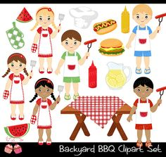Backyard Barbecue BBQ Clipart Set by 1EverythingNice on Etsy