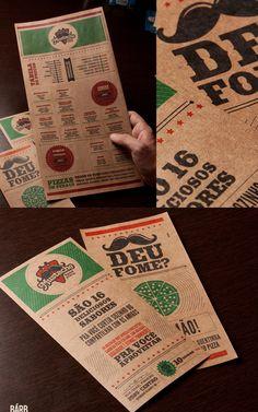 Mustache - Impressos Cardápio e Flyer de Inauguração da Pizzaria Mustache.