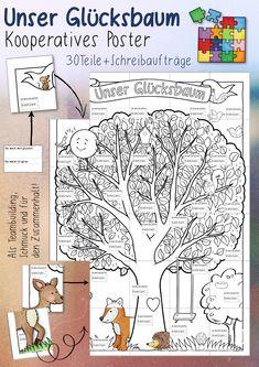 Vorschau - Arbeitsblätter - Glücksbaum - Kooperatives Poster (Grundschule / Sek 1) - Seite 1 Poster, Teaching Materials, Primary School, Billboard