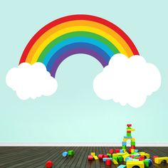Perfect for any kids' bedroom or playroom, this rainbow decal will liven up your space.