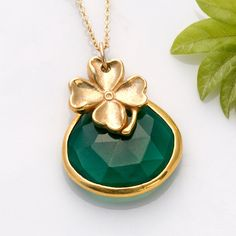 St Patrick's Day Necklace  Lucky Four Leave by DelezhenCharmed, $67.00