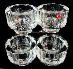 Iittala Crystal Kuusi Fir Trees Glass Votive Candle Holders Set of 4 | eBay