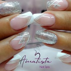 50 perfect pink and white nails for brides 17 Silver Nail Designs, Ombre Nail Designs, Acrylic Nail Designs, Nail Art Designs, Classy Nails, Stylish Nails, Matte Nails, Gel Nails, Stiletto Nails