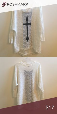 Cross Sweater❤️ White sweater with quarter length sleeves and black cross on the front! Eyeshadow Sweaters Crew & Scoop Necks