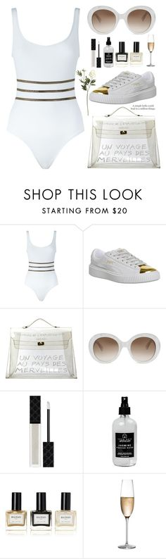 """A simple hello"" by jan31 ❤ liked on Polyvore featuring Tooshie, Puma, Hermès, Gucci, Little Barn Apothecary, Balmain, RogaÅ¡ka, Crate and Barrel and Etiquette"