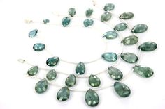 Moss Aquamarine Faceted Pear Quality AAA /  by GemstoneWholesaler