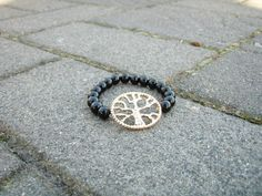 Gold Tree of Life and Black Bead Bracelet by CAMyCreations on Etsy, $12.00
