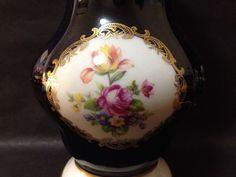 Estate Find - Vintage German ECHT WEIMAR KOBALT Vase w/ Flowers & 22ct Gold Gilt Vintage Ceramic, My Ebay, Porcelain, Vase, Ceramics, Flowers, Gold, Decor, Weimar