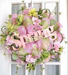 Spring/Easter deco mesh wreath