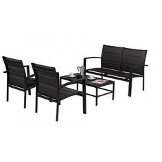 Salon de jardin Sofa Modulo Noir comprend : 1 sofa pour 2 personnes, 2 fauteuils et 1 table basse. Avec ses coloris modernes et son espace convivial ce salon agrémentera parfaitement votre terrasse ou votre jardin.