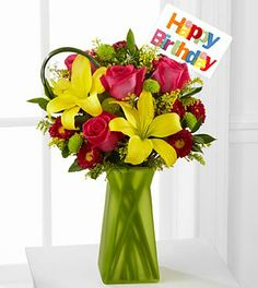 Sweet Celebrations Rose & Lily Birthday Bouquet - 14 Stems - VASE INCLUDED