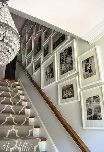 Benjamin Moonshine is one of the best light gray paint colours for a dark hallway or stairs by Dear Lillie