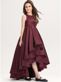 JJsHouse A-Line Scoop Neck Asymmetrical Ruffle Zipper Up Regular Straps Sleeveless No Cabernet General Plus Satin Junior Bridesmaid Dress. Long Dress Design, Girls Frock Design, Kids Frocks Design, Baby Frocks Designs, Stylish Dresses For Girls, Stylish Dress Designs, Dresses Kids Girl, Girls Formal Dresses, Baby Girl Frocks