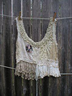 Magnolia Pearl Fabulous Vintage Crochet Tank Top Layering OOAK Specialty Piece