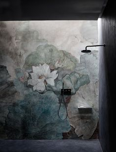 Luxury shower with flower wallpaper