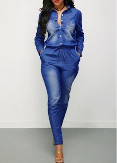 Turndown Collar Button Up Drawstring Waist Denim Jumpsuit | Rosewe.com - USD $37.12