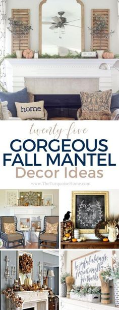 25 Gorgeous Fall Mantel Decor Ideas for your home! Fall Home Decor, Autumn Home, Diy Home Decor, Fall Fireplace Mantel, Home Decor Inspiration, Decor Ideas, Decorating Your Home, Decorating Ideas, Holiday Decorating