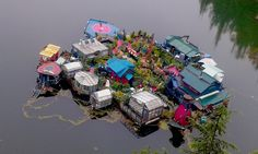 Talk about extreme green. Artists Wayne Adams and Catherine King spend their days completely immersed in nature – the Canadian couple lives off-the-grid on a floating sustainable island