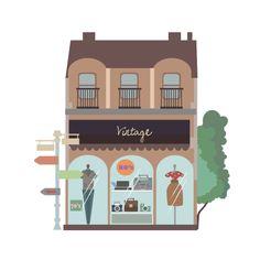 Shopping Street by Kübra Aslan, vintage, illustration,flat,street,fashion