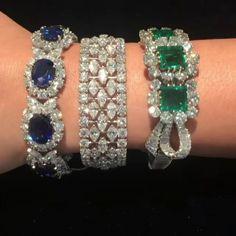 Follow @thejewellcloset . Stunning Diamond , Sapphire & Emerald bracelets @sothebys . follow@theJewellcloset Follow @thejewellcloset…