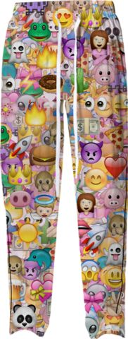 EMOJI HAPPY PATTERN Pajama Pants by M.O.K. on Print All Over Me. #paompajamapant #MOK #paomprintoftheweek