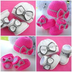 Cute Knitting Baby Booties/pink fushia