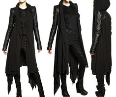 Gareth Pugh Leather Sleeves Silk Chiffon Coat (all sides)