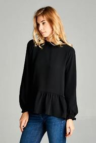 Just A Little PEP-lum Top {Black}