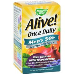 Nature's Way Alive! Once Daily Men's 50 plus Multi-Vitamin Description: Multi-Vitamin and Whole Food Energizer The Most Complete Once Daily Multi-Vitamin for Me